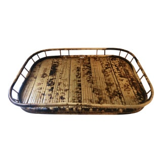 Vintage Burnt Bamboo Rattan Bar Tray For Sale
