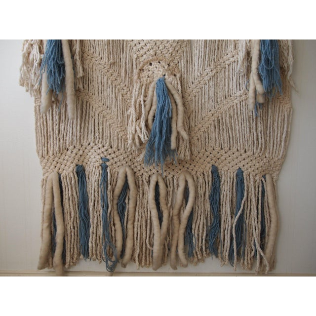 Boho Chic Vintage Woven Wall Hanging For Sale - Image 3 of 4