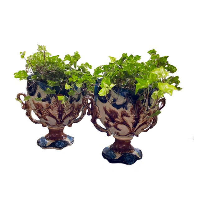 Fabulous pair on antique French majolica jardinieres.