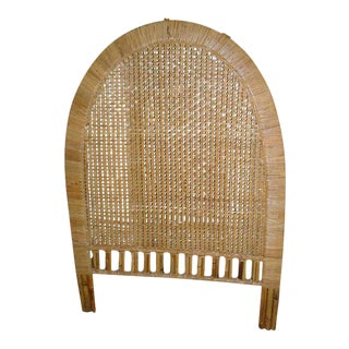 1970's Mid-Century Modern Tan Buri Wicker Twin Size Headboard