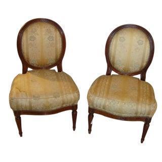 Jansen Louis XVI Style Boudoir Chairs- A Pair For Sale