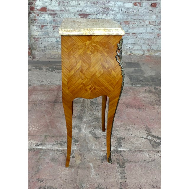 Late 19th Century French 19th Century Marquetry Petit Commodes- a Pair For Sale - Image 5 of 10