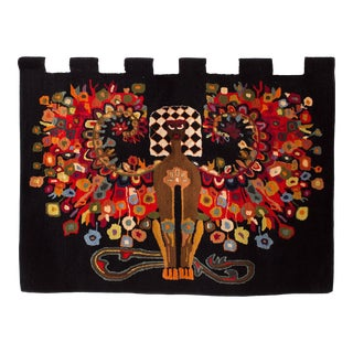 1950s Vintage Hand Woven Wall Tapestry For Sale