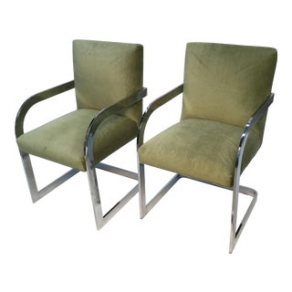 Mid Century Milo Baughman Style Chrome Frame Armchairs - A Pair For Sale