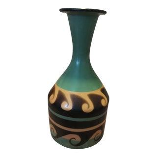 Peruvian Signed Handpainted Ceramic Vase For Sale