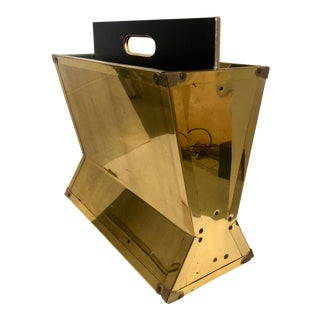 Large Brass Magazine Rack For Sale