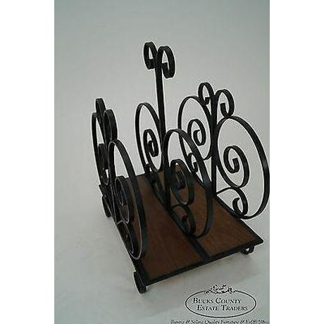 Custom Ornate Scrolled Wrought Iron Spanish Style Magazine Stand For Sale In Philadelphia - Image 6 of 13