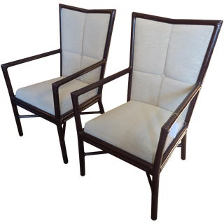 Barbara Barry Rattan & Leather Armchairs - A Pair