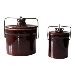 Vintage Stoneware Kitchen Jars - A Pair For Sale