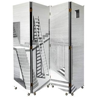 """Piero Fornasetti Folding Screen for Fornasetti-Milano, """"Scaletta"""" Signed 2001 For Sale"""