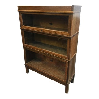 Antique Hale 3 Stack Mission Oak Arts and Crafts Barrister Lawyers Bookcase For Sale