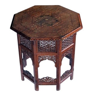 Anglo Indian Octagonal Side/Traveling Table With Brass and Copper Inlay For Sale