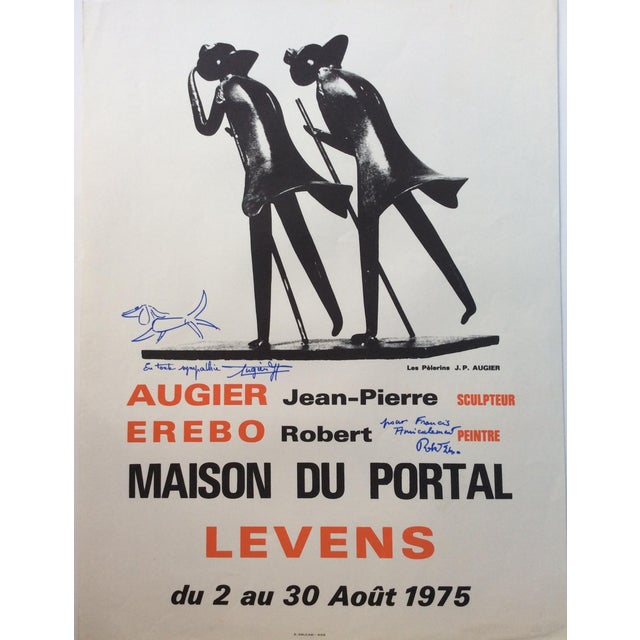 French French Art Exhibition Poster, Signed Jean-Pierre Augier and Robert Erebo For Sale - Image 3 of 3