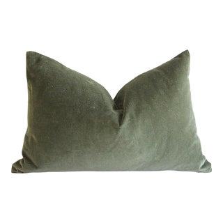 Custom Made Moss Green Cotton Velvet and Linen Decorative Lumbar Pillows For Sale