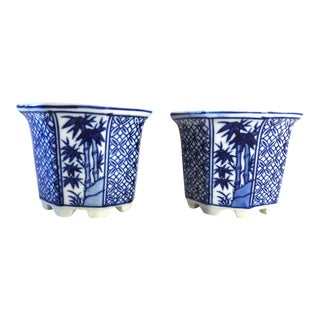 Chinese Porcelain Small Outdoor Planters - a Pair For Sale
