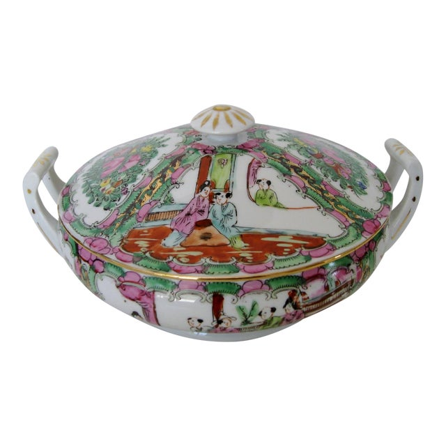 Vintage Rose Medallion Tureen For Sale
