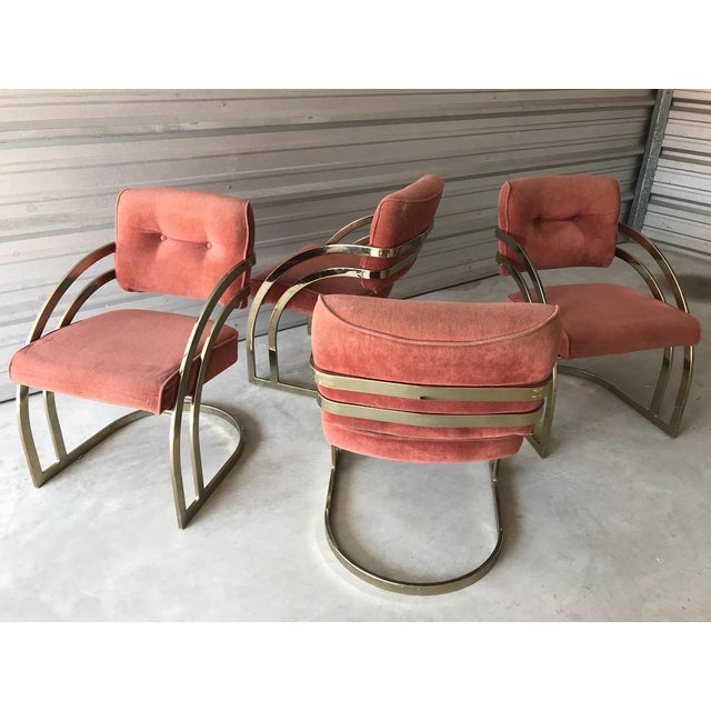 Pink Milo Baughman Style Brass/Gold Dining Chairs - Set of 4 For Sale - Image 8 of 8