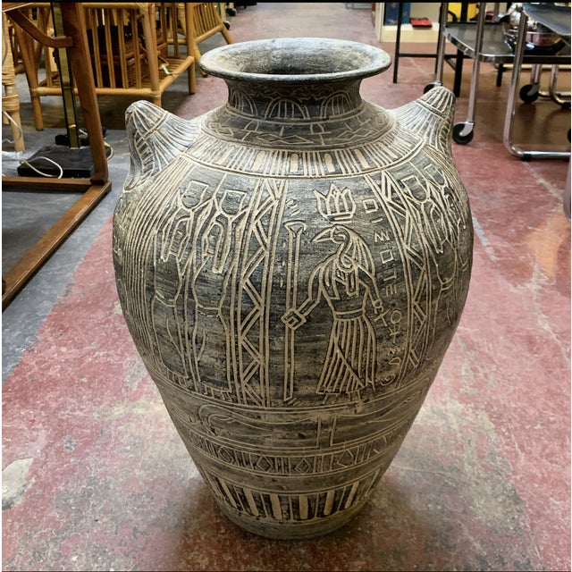 Tan 1980s Postmodern Egyptian Revival Large Pottery Floor Vase For Sale - Image 8 of 8