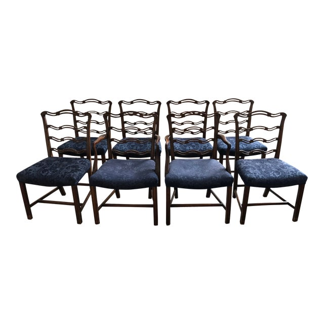 Centennial Revival Mahogony Ribbon Back Dining Chairs - Set of 8 For Sale