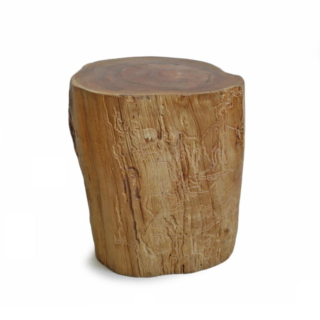 Natural solid teak stump side table or stool with sand smooth top. Wonderful simple organic texture and coloring makes a...