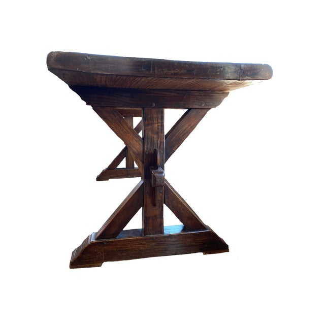 Farmhouse 19th Century Provençal Trestle Farm Table For Sale - Image 3 of 11