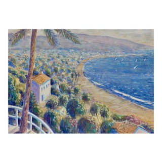 """View From the Pacific Palisades to Santa Monica, California Bay"" Contemporary California Landscape Mixed-Media Painting For Sale"