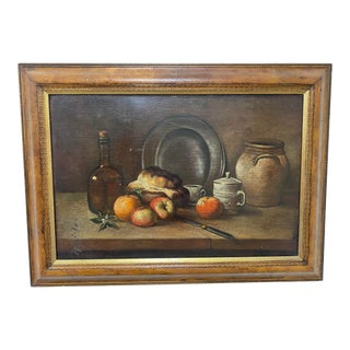 Early 20th Century English Tabletop Still Life Oil Painting, Framed For Sale