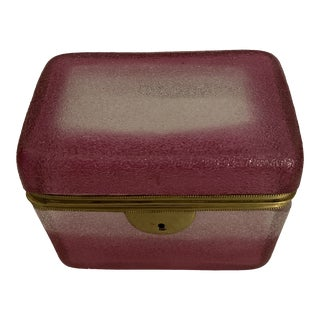 Moser Frosted Pink and White Glass Box For Sale