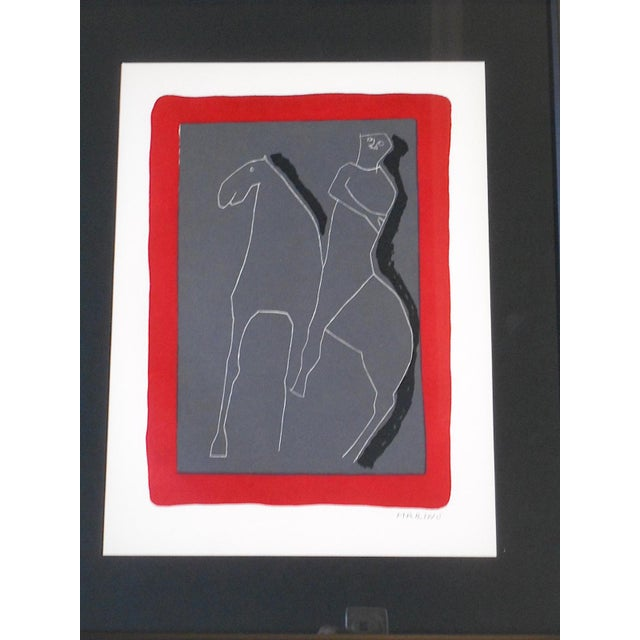 This Marino Marini (Italy, Switzerland 1901-1980) silkscreen (a.k.a. serigraph) print depicts an abstracted mid 20th...