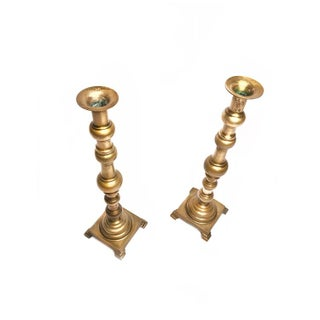 Vintage Mid Century Tall Solid Brass Footed Candlesticks - a Pair Preview