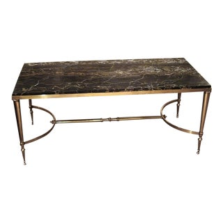 1950 Maison Jansen Brass Coffee Table With Black Marble Top For Sale