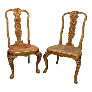 English Partial Gilt Hall Chairs With Carving on Frame and Cabriole Legs, Different Fabric on Seats - a Pair For Sale