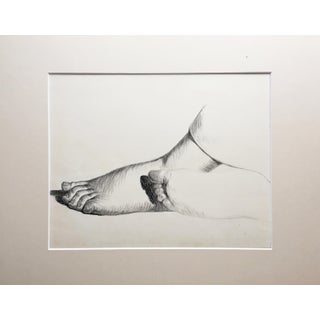 19th C French Antique Graphite Drawing Study of Feet