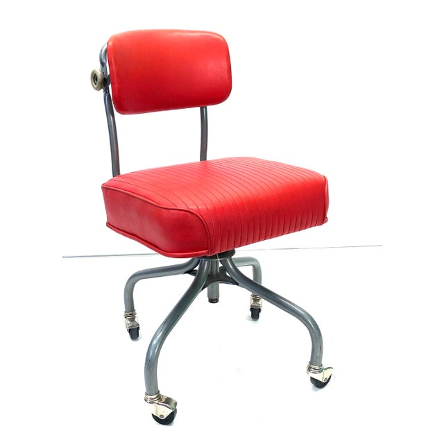 Tanker Steelcase Machine Age Industrial Little Red Desk Chair For Sale - Image 9 of 9