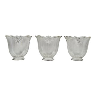 Vintage Tulip Holophane Glass Light Shades - Set of 3