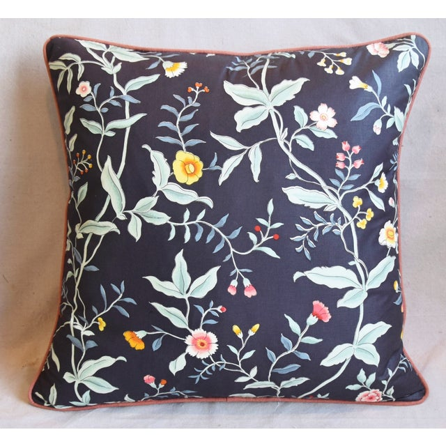 """Asian Designer Clarence House Floral Fabric Feather/Down Pillows 23"""" Square - Pair For Sale - Image 3 of 13"""