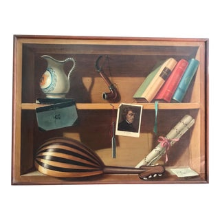 Mid 20th Century French Music Themed Trompe L'oeil Oil Painting, Framed For Sale