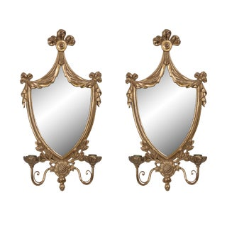 Pair of Adams Style Carved Giltwood Mirrored Sconces For Sale