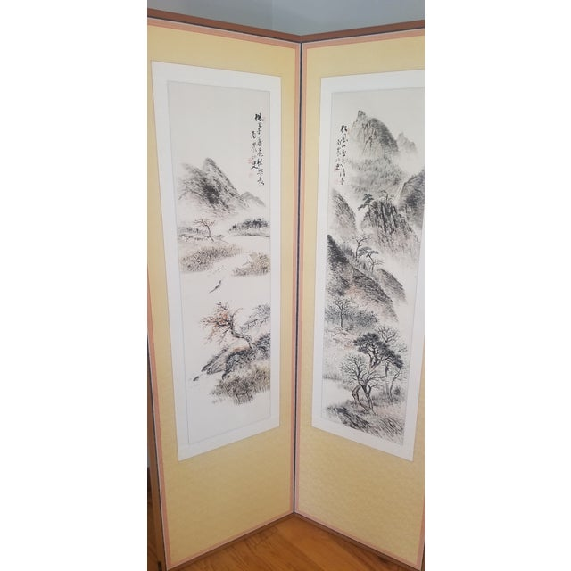 Beautiful vintage (possibly antique) hand-painted on silk room divider. This is water color brush painting that is mounted...