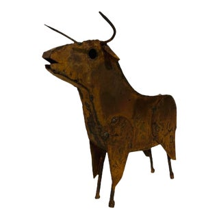 Brutalist Steel Bull Sculpture For Sale