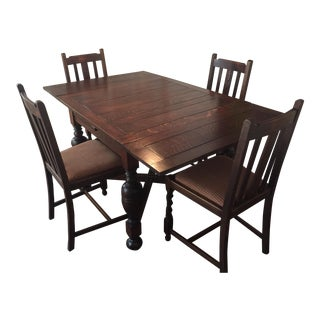 Antique English Pub Table & Chairs For Sale
