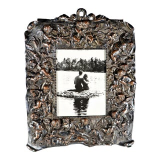 Antique Silver Over Copper Table Frame With Cherubs For Sale
