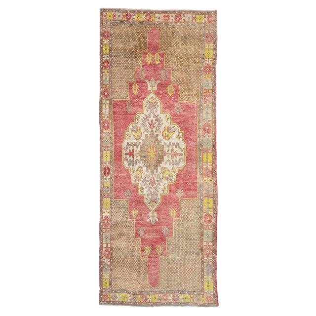1960s Vintage Turkish Konya Wool Rug- 5′ × 13′7″ For Sale