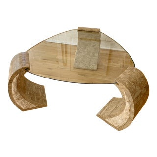 1980s Magnussen Mactan Postmodern Stone and Travertine Coffee Table For Sale