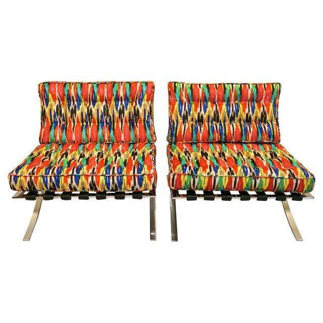 Mid-Century Modern Barcelona Style Chairs - Pair - Image 2 of 7