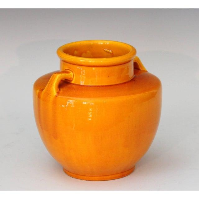 Art Deco Awaji Pottery Japanese Art Deco Vase With Bright Yellow Monochrome Glaze For Sale - Image 3 of 9