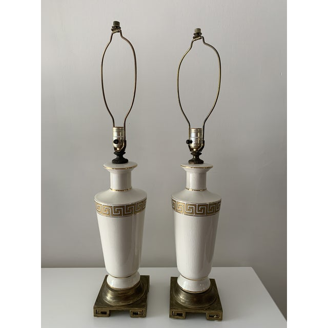 Chinoiserie Regency Greek Key Table Lamps - a Pair For Sale - Image 3 of 12