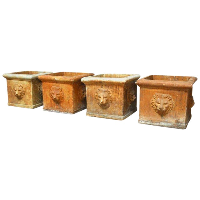 Continental Style Sandstone Planters with Lions Head Motif - Image 1 of 10