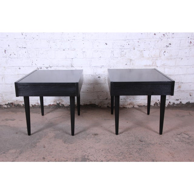 Merton Gershun for American of Martinsville Ebonized End Tables or Nightstands, Pair For Sale - Image 11 of 13