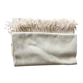 Alpaca Fringe Pale Green Throw For Sale